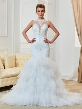 Ericdress Mermaid Lace Jewel Neckline Appliques Wedding Dress