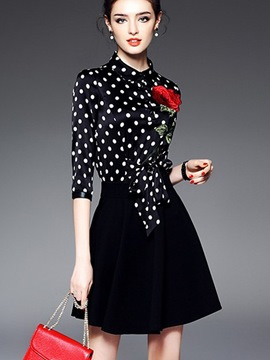 Ericdress Embroidery Polka Dots Lace-Up Patchwork Casual Dress