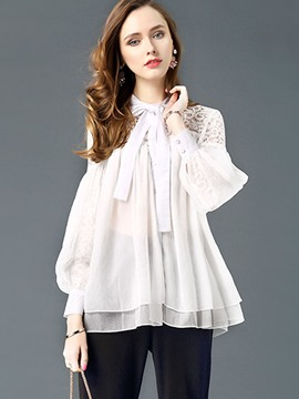 Ericdress Lace Hollow Chiffon Blouse