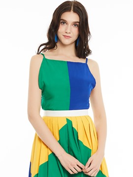 Ericdress Color Block Spaghetti Straps Vest