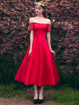Ericdress A Line Off The Shoulder Beaded Lace-Up Tea Length Prom Dress