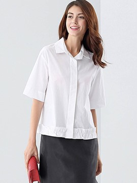 Ericdress White Lapel Half Sleeve Blouse