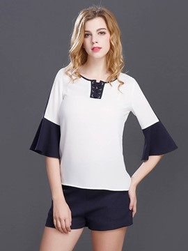 Ericdress Color Block Trumpet Chiffon Blouse