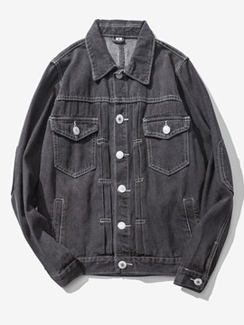 Ericdress Plain Denim Single-Breasted Vintage Casual Men's Jacket