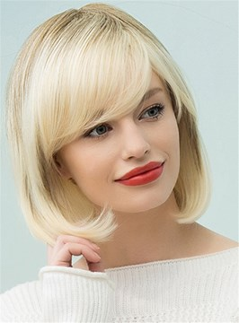 Ericdress Sweet Shaggy Bob Medium Straight Human Hair Blend Hair Capless Wigs 12 Inches