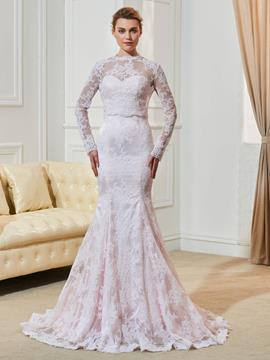 Ericdress Fancy Lace Mermaid Long Sleeves Pink Wedding Dress