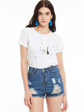 Ericdress Round Neck Hole Plain T-shirt