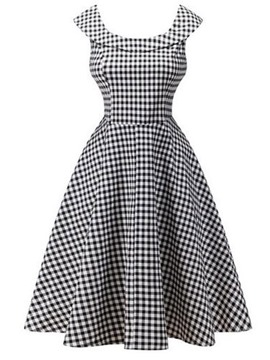 Ericdress Lapel Plaid Sleeveless Pleated A Line Dress