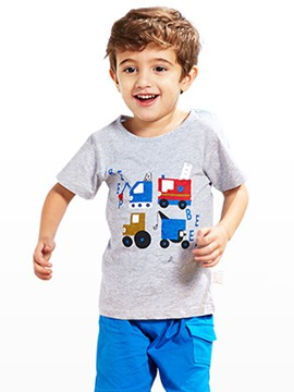 Ericdress Cartoon Stripe Cotton Boys T-Shirt