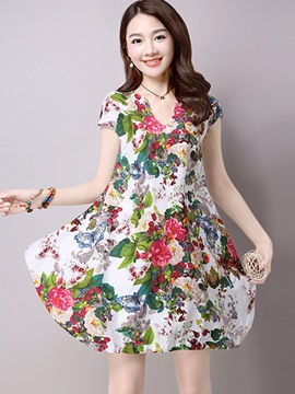 Ericdress Floral V-Neck Color Block Casual Dress