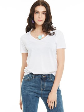 Ericdress Regular Slim V-Neck Plain T-shirt