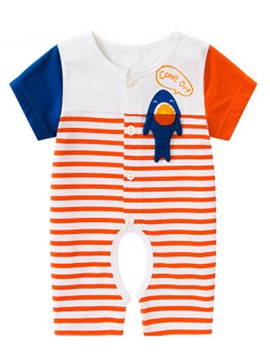 Ericdress Stripe Cartoon Short Sleeve Baby's Jumpsuit