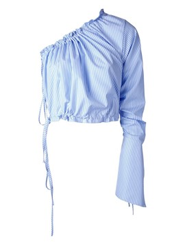 Ericdress Fine Blue Stripe One Sleeve Stylish Blouse