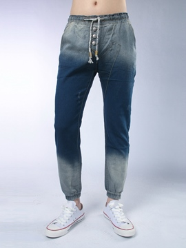Ericdress Gradient Lace-Up Denim Casual Men's Pencil Pants