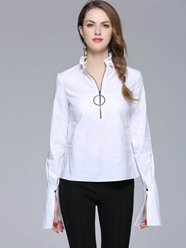 Ericdress White Slim Flare Sleeve Blouse