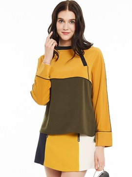 Ericdress Loose Raglan Sleeves Color Block T-Shirt