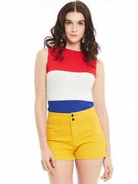 Ericdress Slim I-Shaped Color Block Tank Top