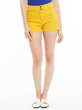 Slim Button Zipper Plain Shorts