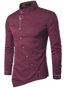 Ericdress Plain Iregular Quality Long Sleeve Men's Shirt