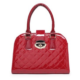 Ericdress Creative Plaid Patent Leather Handbag