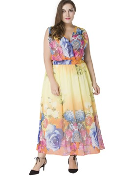 Ericdress Floral Print V-Neck Plus Maxi Dress
