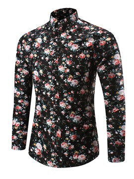 Ericdress Lapel Long Sleeve Floral Print Men's Casual Shirt