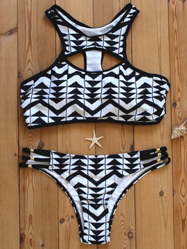 Ericdress Color Block Geometric Hollow Bikini Set