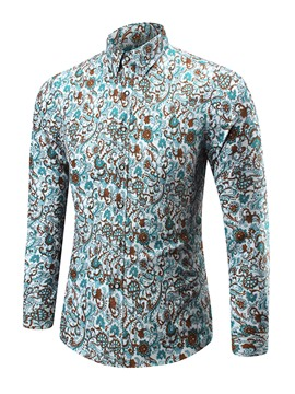 Ericdress Large Size Print Unique Casual Men's Shirt