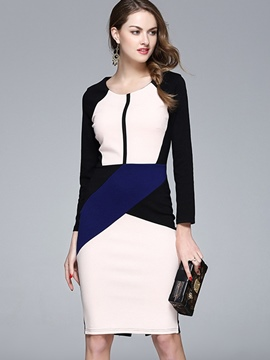Ericdress Raglan Sleeve Patchwork Back Zipper Sheath Dress