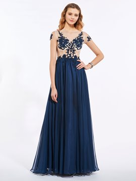 Ericdress A Line Short Sleeve Applique Long Evening Dress With Button Back
