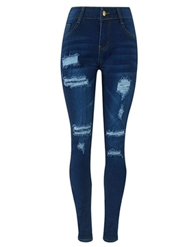 Ericdress High Waisted Blue Tight Women's Jeans