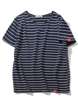 Ericdress Japanese Style Stripe Loose Short Sleeve Men's T-Shirt