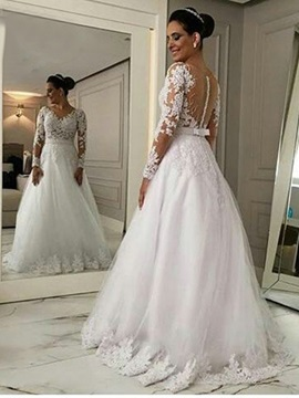 Ericdress Appliques A Line Long Sleeves Wedding Dress