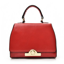Ericdress Thread Decorated Patent Leather Handbag