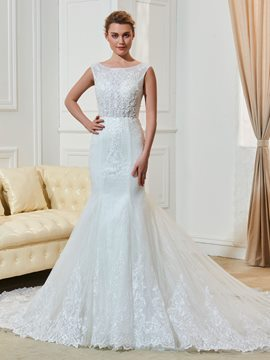 Ericdress Mermaid Appliques Beaded Bateau Neckline Wedding Dress