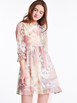 Ericdress Print Princess Sleeve Stand Collar A Line Dress