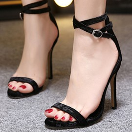 Ericdress Concise Velvet Open Toe Stiletto Sandals