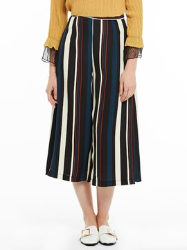Stripe Color Block Wide Legs Pants