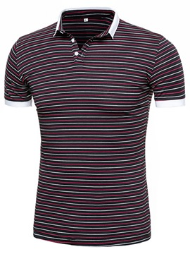 Ericdress Stripe Short Sleeve Men's Polo T-Shirt