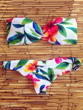 Ericdress Sexy Strapless Flower Leaf Bikini Set