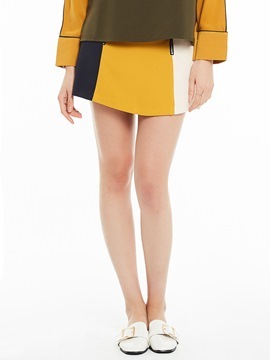Zipper Color Block Patchwork A-Line Skirt