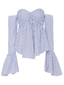 Ericdress Stripped Trumpet Slash Blouse