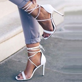Ericdress Delicate White Cross Strappy Stiletto Sandals