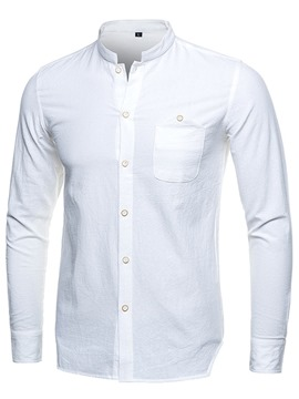 Ericdress Single-Breasted Plain Stand Collar Men's Shirt
