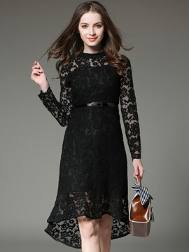 Ericdress Casual See-Through High-Waist Long Sleeve Lace Dress