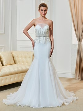 Ericdress Fancy Beaded Strapless Mermaid Wedding Dress