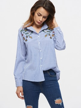 Ericdress Blue Stripe Flower Embroidery Blouse