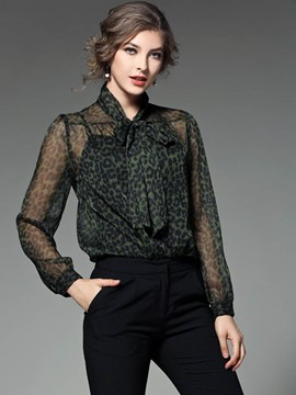 Ericdress Slim See-Through Leopard Blouse
