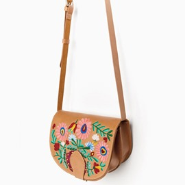 Ericdress Metal Elements Embroidery Saddle Crossbody Bag
