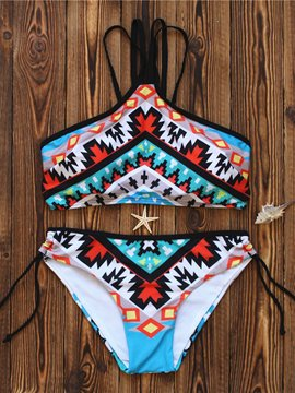 Ericdress Fashionable Plaid Print Color Block Bikini Set